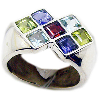 Multi Stone 925 Sterling Silver Ring  Multicolor  Indian gift SRMUL-53209