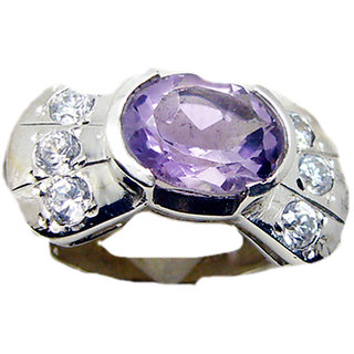 Amethyst 925 Sterling Silver Ring appealing Purple jaipur Indian gift SRAME-2645