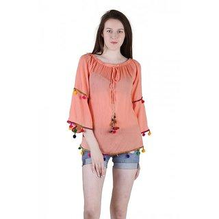 5db77d4cda1e8 Buy Jollify women s rayon orange pom pom top(ktiptoporg) Online ...