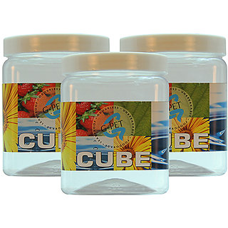 GPET Cube Pet Container 1000 ml (Pack of 3)