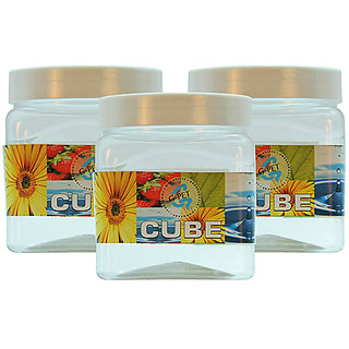 GPET Cube Pet Container 500 ml (Pack of 3)