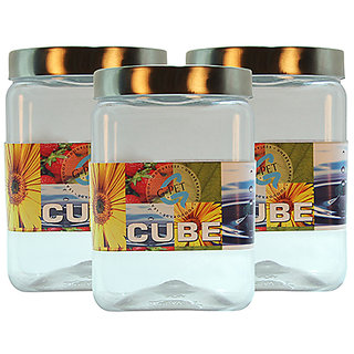 GPET Cube Pet Container with Steel Cap 2000 ml (Pack of 3)