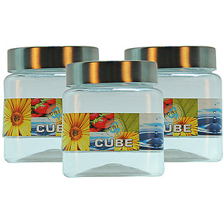 GPET Cube Pet Container with Steel Cap 250 ml (Pack of 3)