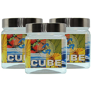 GPET Cube Pet Container with Steel Cap 350 ml (Pack of 3)