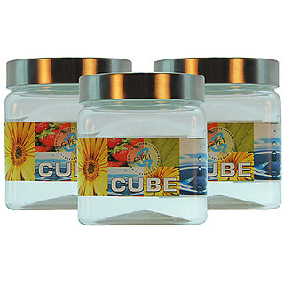 GPET Cube Pet Container with Steel Cap 500 ml (Pack of 3)