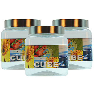 GPET Cube Pet Container with Steel Cap 750 ml(Pack of 3)