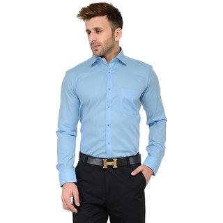 RG Designers Sky Blue Solid Slim Fit Formal Shirt