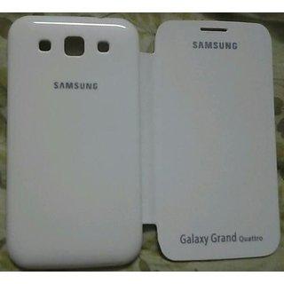 White Matte Finish Flip Cover Case pouch for Samsung Galaxy Grand QUATTRO i8552