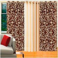 Deal Wala Pack Of 2 Brown Flower Design & 1 Cream Eyelet Door Curtain - Vip20