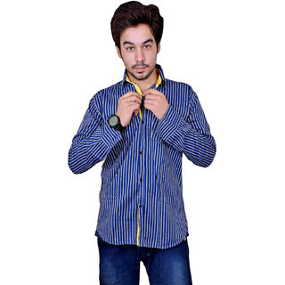 Nation Polo Club Men's Casual Party Wear Striped Yellow Color Shirt