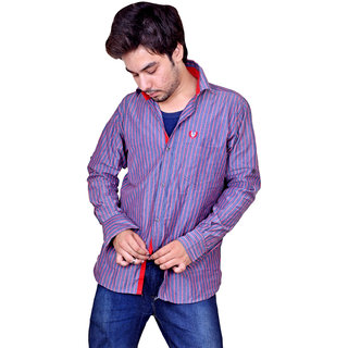 Nation Polo Club Men's Casual Party Wear Striped Red Color Shirt Option 2