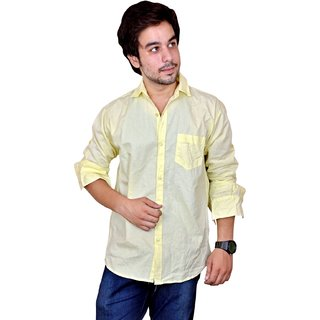 Nation Polo Club Men's Casual Party Wear Striped Linen Blend Yellow Color Shirt