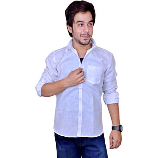 Nation Polo Club Men's Casual Party Wear Striped Linen Blend White Color Shirt