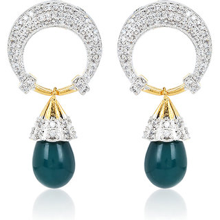 Jewels Galaxy AD Studded Moon Style Earring With Emerald Drop