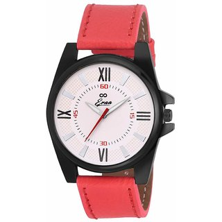 Eraa Men Sober Red and White Wrist Watch EMJXRED162