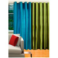 Deal Wala 1 Aqua Blue & 1 Green Eyelet Door Curtain - Vip50