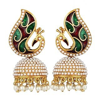 Jewels Capital Exclusive Golden Green Maroon White Multi Color Earring Set / S 3601