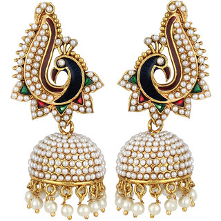 Jewels Capital Exclusive Golden Green Maroon White Multi Color Earring Set / S 3605