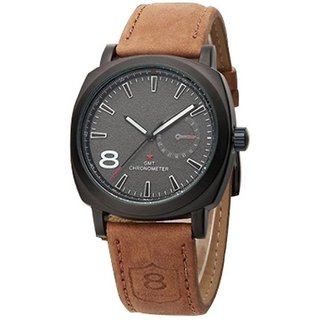 i DIVA'S   fashion Curren Stylish Military Khaki Leather Strap Watch