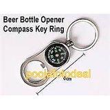 Magnetic Compass Bottle Opener Navigation Keychain Travel Camping Keyring Metal