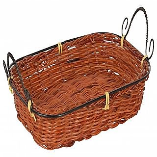 6thdimensions Bamboo Storage Basket (30 cm x 17 cm x 4 cm, Brown)