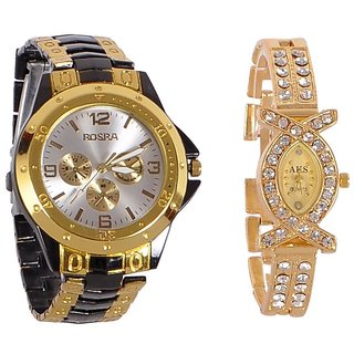 Rosra GoldenBlack And Aks Golden Collection Fancy Couple Analog Watches For Men And Women