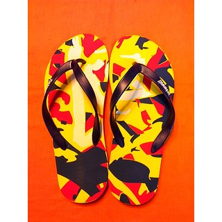 Multi Colored Flip Flops, Open Toed, with Slip-on Styling (Size-10)