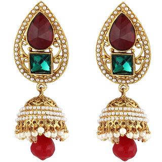 Jewels Capital Exclusive Golden Green Maroon White Earring Set / S 3657