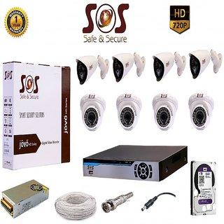SOS-8 1080P 8CH AHD DVR - 1 PC + SOS-CAT10 1.3 MP AHD IR DOME CAMERA - 4 PC + SOS-EAGLE10 AHD 1.3 MP BULLET CAMERA - 4 P