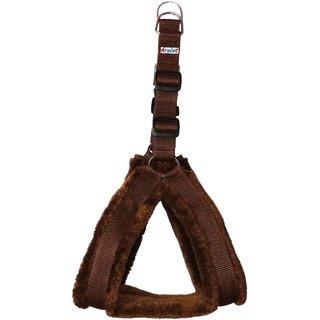 Petshop7 Nylon Brown fur 1 Inch Medium Dog Harness (Chest Size  25-30inch)