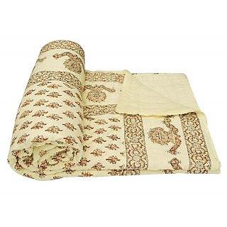 Traditional  World Famous Golden Print Jaipuri Double Bed Cotton Razai / Quilt