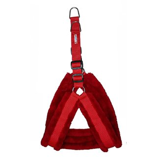 Petshop7 Nylon Red  fur 1 Inch Medium Dog Harness (Chest Size  25-30inch)