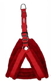 Petshop7 Nylon Dog Harness with Fur 1.25 inch Large - Red (Chest Size  28-34)