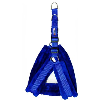 Petshop7 Nylon Dog Harness with Fur 1.25 inch Large - Blue (Chest Size  28-34)