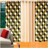 Deal Wala Pack Of 2 Box Design Green & 1 Cream Door Curtain - Vip127