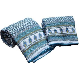 Jaipuri Single Bed Quilt Bluish Green Floral Print Cotton Razai Pair Set of Two