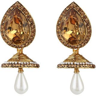 Jewels Capital Exclusive Golden White Earring Set / S 3712
