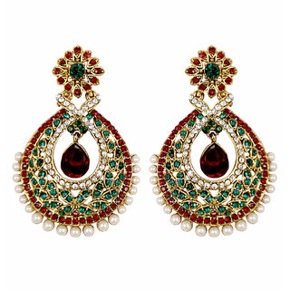 Asian Pearls & Jewels Red And Green Fashion Earrings