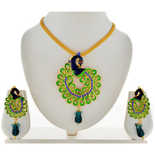 Asian Pearls & Jewels Peacock Pendant Necklace Set