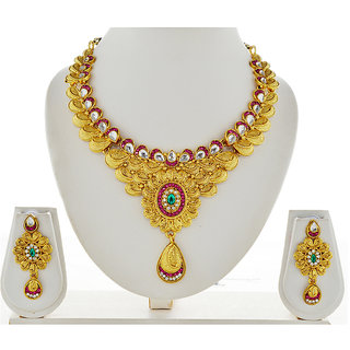 Asian Pearls & Jewels Golden Necklace Set