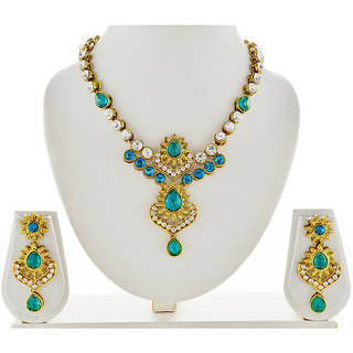 Asian Pearls & Jewels Blue And White Necklace Set - 4453088
