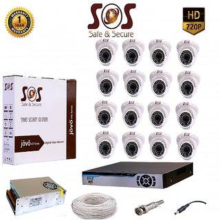 SOS-16 1080P 16CH AHD DVR -1 PC  + SOS-CAT10 1.3 MP AHD IR DOME CAMERA - 16 PC + 16 CH SMPS + WIRE + BNC+DC