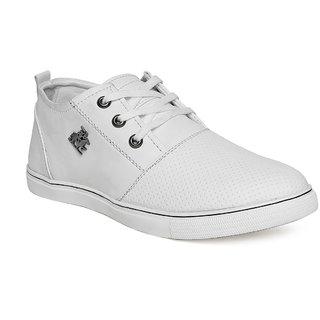 Vendoz Men White Lace-up Sneakers