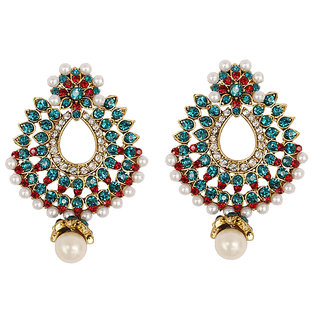 Asian Pearls & Jewels Blue And Red Fashion Earrings