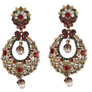 Asian Pearls & Jewels Red And Golden Fashion Earrings