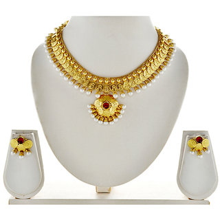 Asian Pearls & Jewels Golden And Pearl Necklace Set