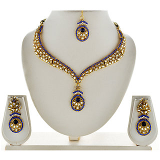 Asian Pearls & Jewels Blue And White Necklace Set