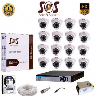 SOS-16 1080P 16CH AHD DVR -1 PC  + SOS-CAT10 1.3 MP AHD IR DOME CAMERA - 16 PC + 1 TB WD HDD + 16 CH SMPS + WIRE + BNC+D