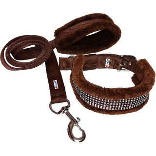 Petshop7 Nylon Dog Collar  Leash with Fur 1 Inch-Brown-Medium