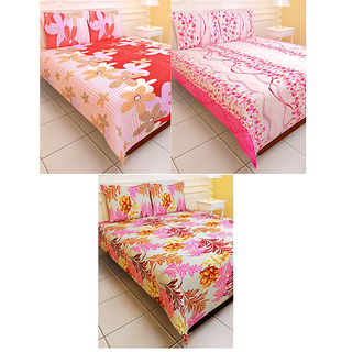 Set Of 3 Carah Polyester TC 150 Double Bed Sheet With 6 Pillow Covers